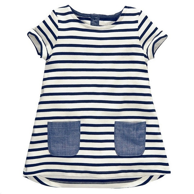 97a440a9c307d US $6.6 40% OFF|1 6 Years Baby Girls Dress 2018 New Blue Stripe Summer  Dresses Cotton Casual Long Tops Kids Clothing KF047-in Dresses from Mother  & ...