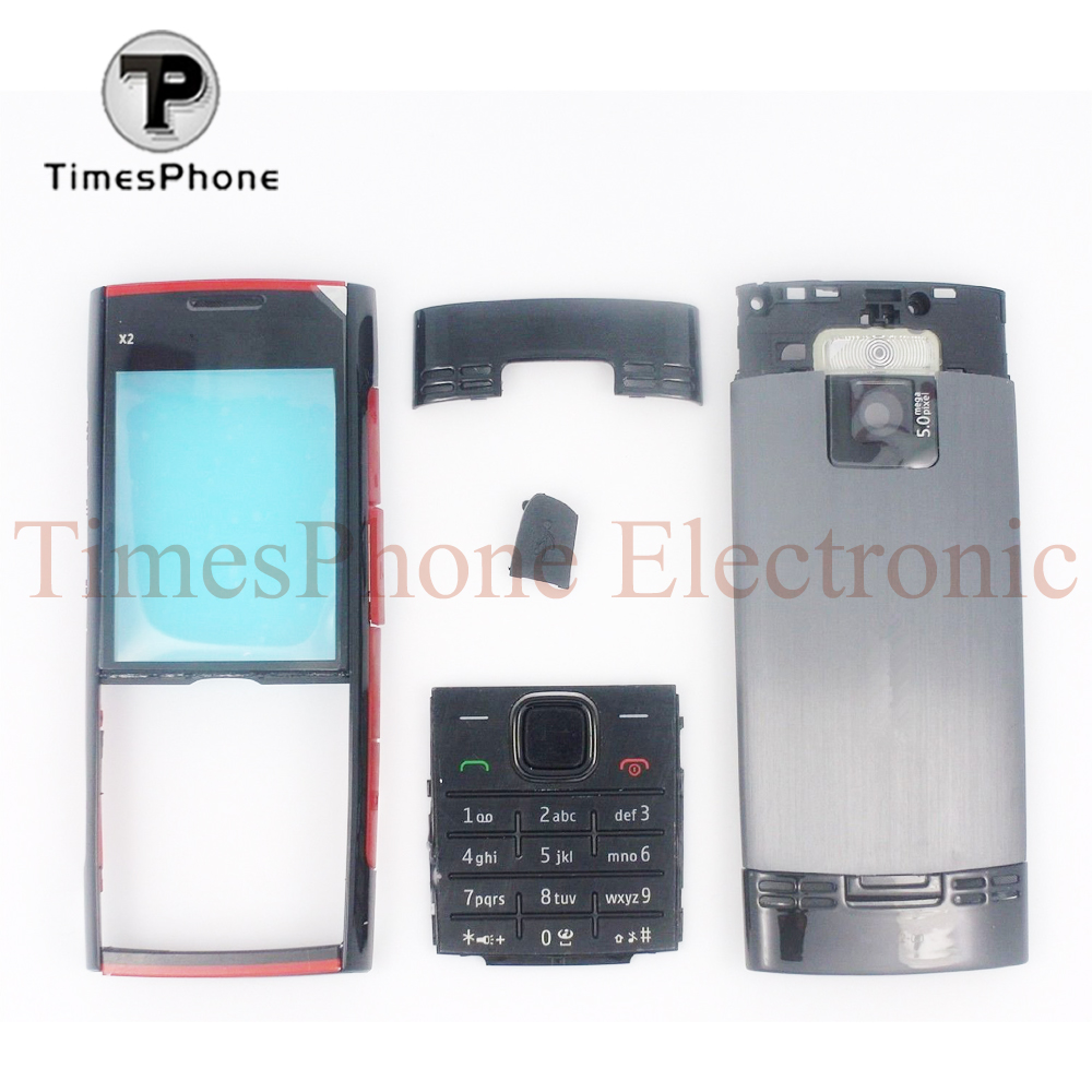 10pcs Free Shipping New Black Silver Color Full Housing Cover For Nokia X2 00 Battery Door Case With Keypad In Mobile Phone Housings From