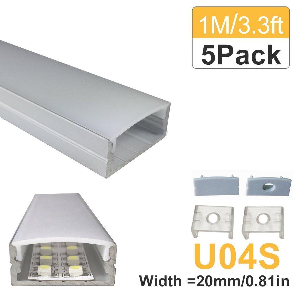5sets/lot 5x1M(3.3ft) Silver <font><b>LED</b></font> <font><b>Strip</b></font> Aluminum Profile for 3528 5050 <font><b>LED</b></font> Bar Aluminum Channel with Cover End Cap Clips U04S5