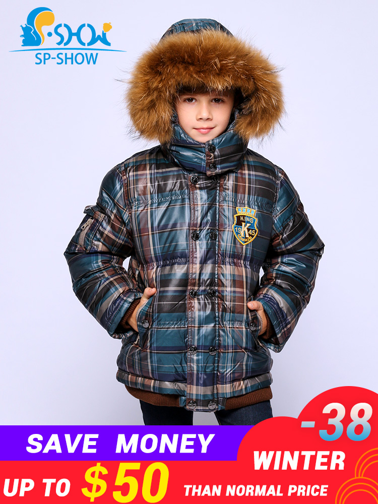 SP-SHOW zima dzieci płaszcz puchowy znosić z kapturem chłopcy płaszcz gruby ciepły z polaru w dół i parki 9301