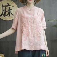 Women's Chinese Cotton Linen Embroidery Floral Summer Comfy Shirts Blouses Top Women Short Sleeve Shirt