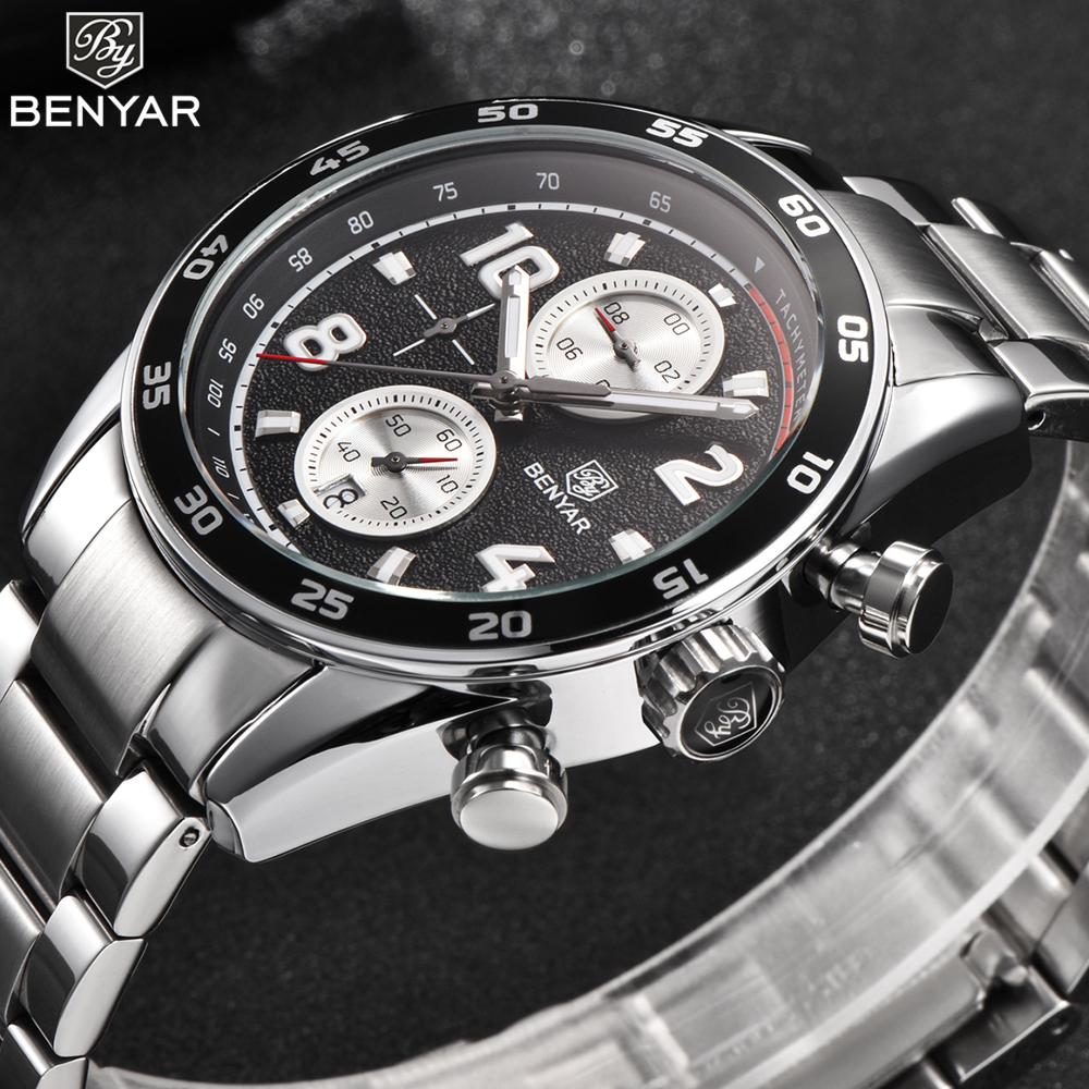 New BENYAR Luxury Famous Top Brand Men Watches Waterproof Men's Fashion Casual Steel Dress Watch Military Quartz Wristwatch Saat цена