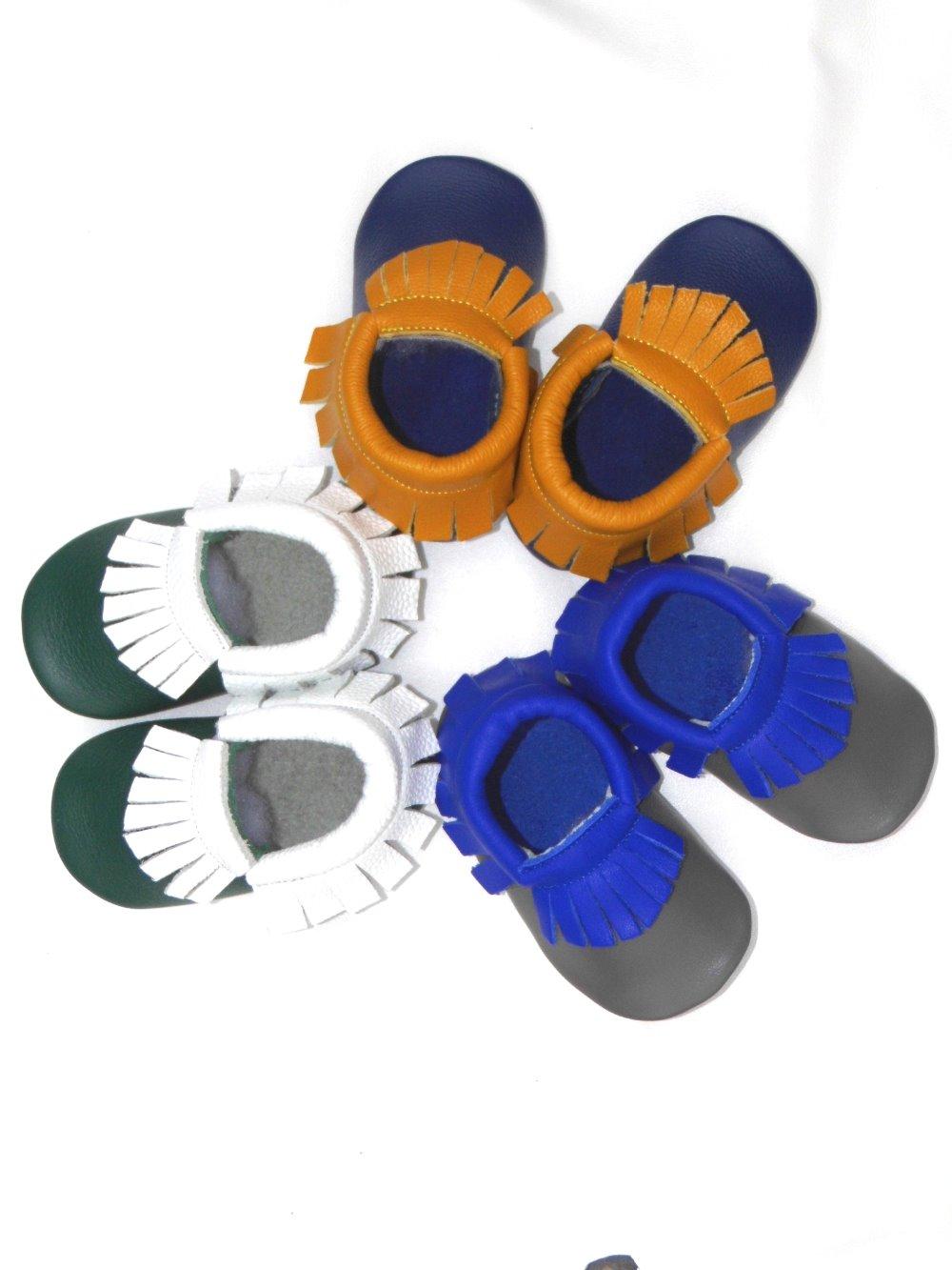 Scarpe da culla in vera pelle di marca Nuovi mocassini da bambino in morbida pelle mocche da bambina scarpe da bambina Toddler boy First Walkers
