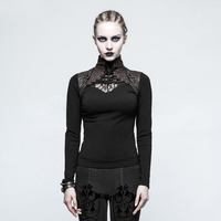 Punk Gothic Style Bodycon Slim Stand Collar Long Sleeve T Shirt For Women Steampunk Vintage Black Sexy Hollow Out Women Tops