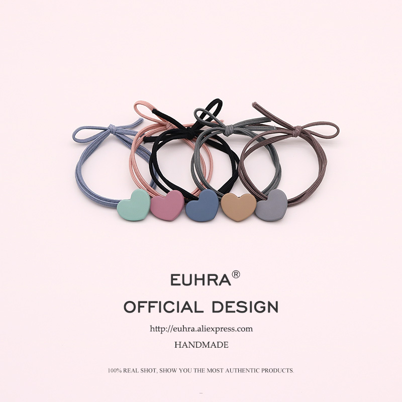 EUHRA 5 Colors Elastic Heart Shape Cassic Simple For Women Hair Band Kid Children Rubber Band High Elasticity