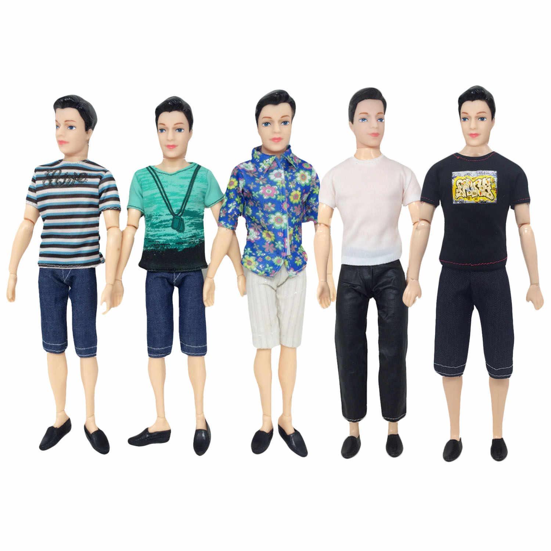 Besegad 5 комплектов Мини мужская кукла повседневная одежда полосатая футболка куртка брюки наряды Одежда Аксессуары для Барби Кен игрушка
