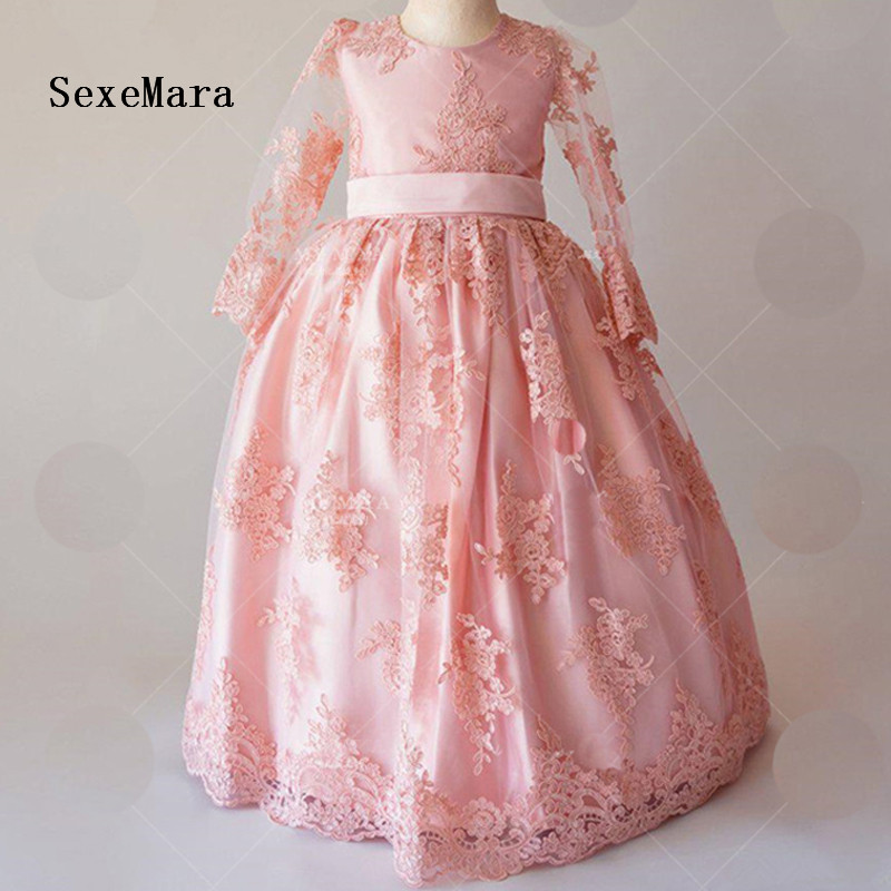 цены Pink Lace Flower Girl Dress Floor Length with Bow Appliques Short Sleeves Baby Girls Birthday Gown