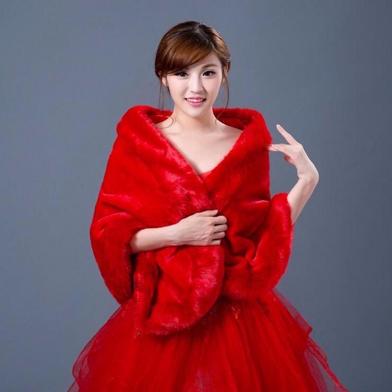 rouge blanc de mariage veste dhiver faux toles de fourrure lgant femmes veste wraps - Tole Blanche Mariage