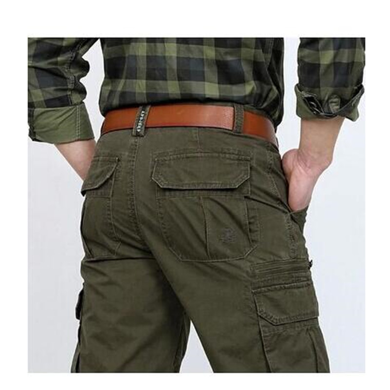 Mens Pants Cotton Casual Military Mens Cargo Pants With Many Pockets Army Khaki Plus Size 30-44 Mens Pants 2019