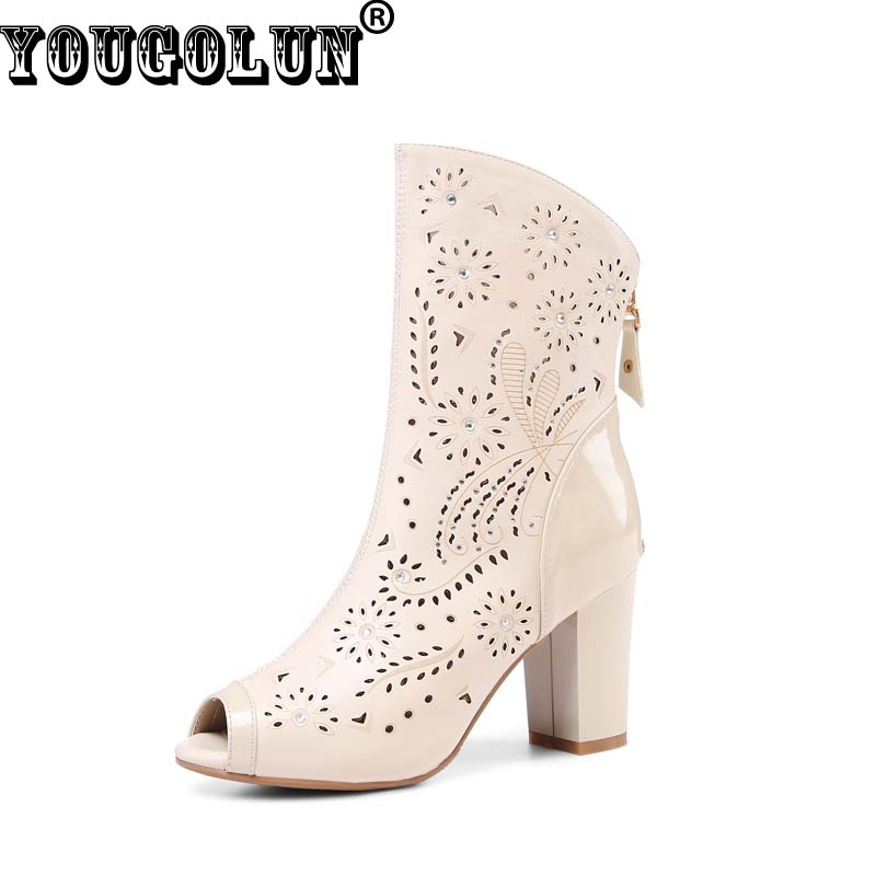 ФОТО YOUGOLUN Summer Boots Women Hollow Ankle Boots Sexy Ladies Peep toe High Thick Heels Fashion Woman White Apricot Crystal Shoes