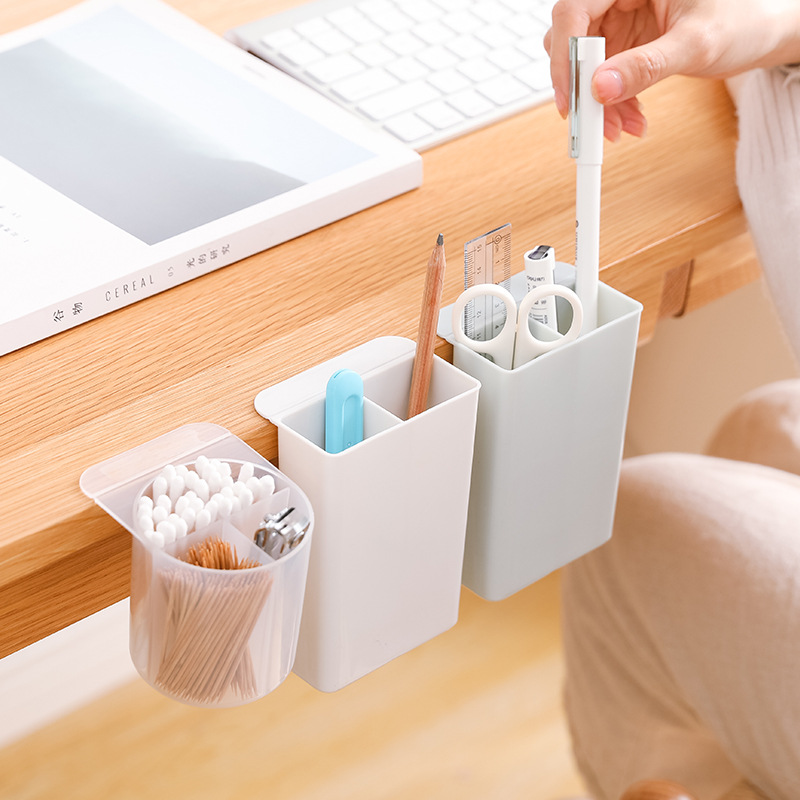 Pen Box Stick On Desktop Brush Pot Plastic Pen Holder Container Makeup Stationery Storage Holder For Home Office Decor