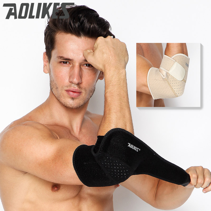 AOLIKES official in stock 1PC Sport Safety Tennis Elbow Brace Sleeve Elbow Support pad Absorb Sweat Elbow Protection gear
