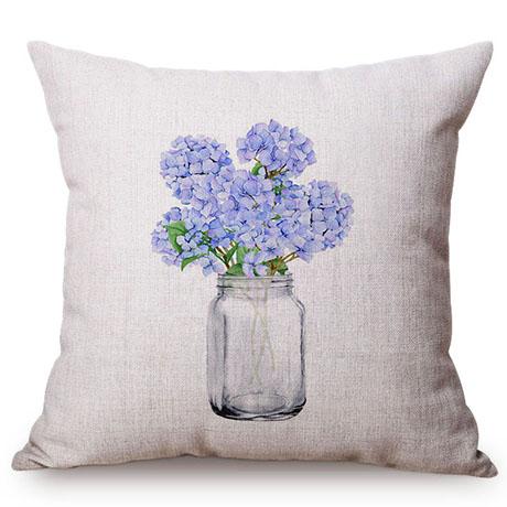 Colorful Nordic Floral Vase Glass Jar Home Sofa Small Fresh Decorative Cushion Cover Chic Purple Flower Cotton Linen Pillow Case M109-2