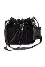 5pcs( 2016 Hot StyleWomen Girl Bucket Bag PU Leather Drawstring Crossbody Messenger Shoulder Bag Black
