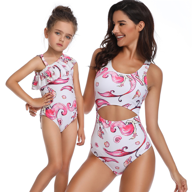 b0e0f30037 One-piece Mermaid Swimwear Daughter and Mom Clothes Baby Girl Swimwear  Family Matching Outfits Mommy