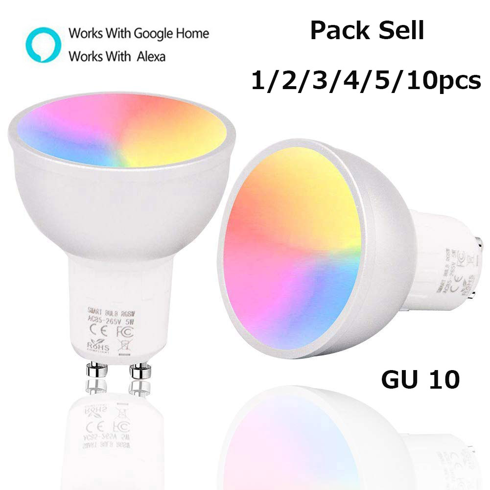 1/2/3/4/5/10PCS WiFi Smart Lamp GU10 Bulb Brightness RGBW 5W Dimmable Light Control By Smart Life APP Work With Alexa/Google