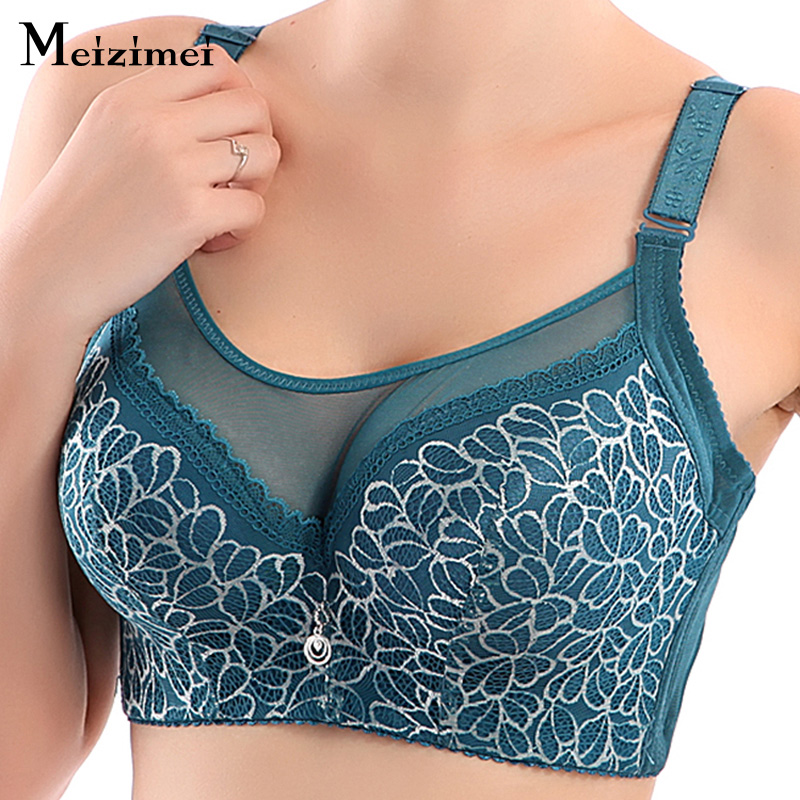 Meizimei bras for women summer plus large big size lady super thin push up bralette gather lace crop top bh sexy brassiere girl