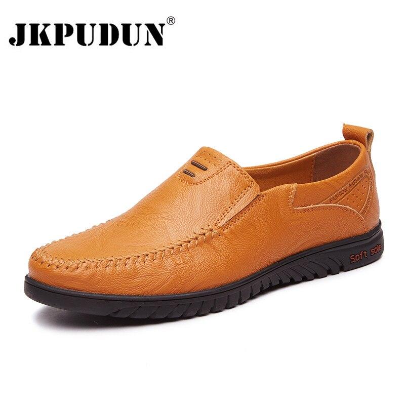 JKPUDUN Italien Hommes Chaussures Casual Marques Véritable En Cuir Hommes Mocassins De Luxe Mocassins Respirant Glissement Sur Bateau Chaussures Grande Taille