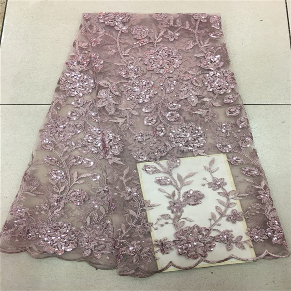 Latest African French Lace Fabric 2018 High Quality African Sequins Lace Fabric For Wedding Dress white