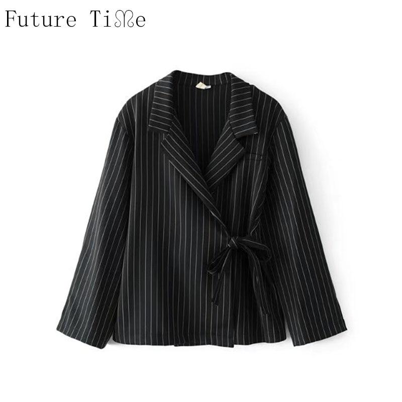 Future Time kimono Cardigan Women Blazer Formal Suits Office Ladies Stripe Turn Down Collar Jackets Vintage