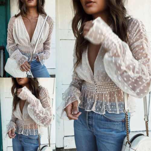 Sexy Women's Mesh Sheer See Through Long Sleeve Slim Fitted Tops   Blouse     Shirt