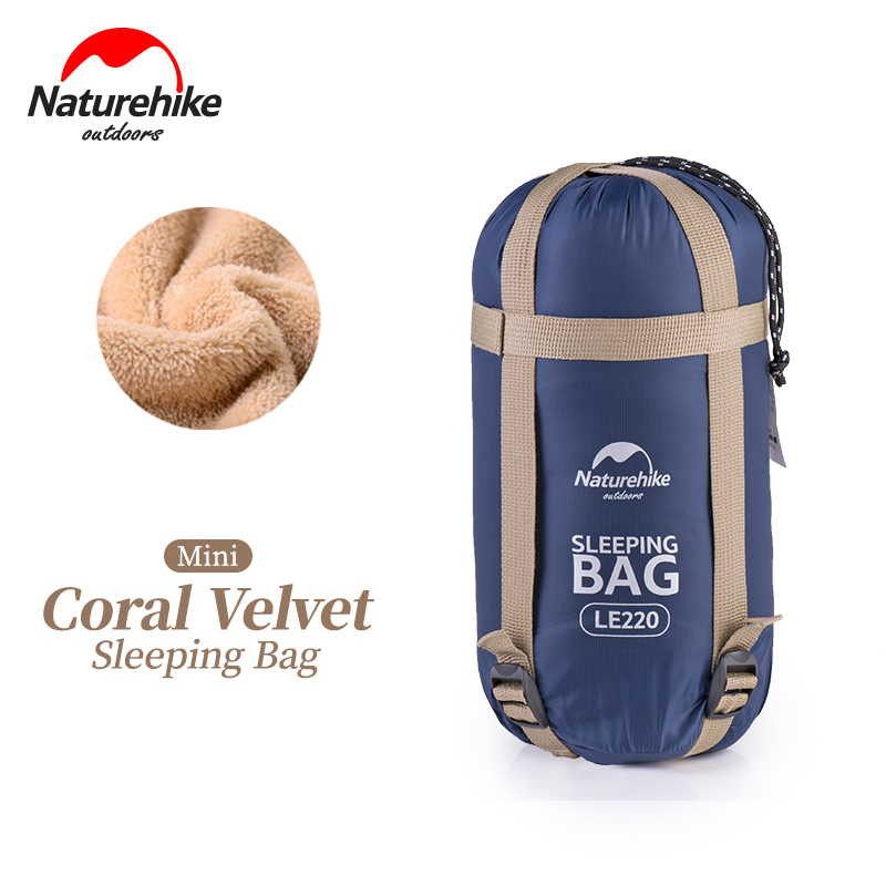 цена NatureHike NH17S015-S 190*75cm Coral Velvet Envelope Sleeping Bag Ultralight For Hiking Camping Traveling With Compression Sack онлайн в 2017 году