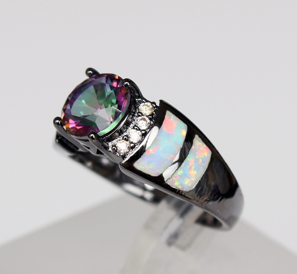 ring graceful opal of topaz fire plated engagement rhodium with rings mystic new white black