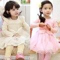 Anlencool frete grátis de alta qualidade das crianças das crianças roupas meninas vestido primavera new super sweet fairy princess vestido de renda vestido de bebê