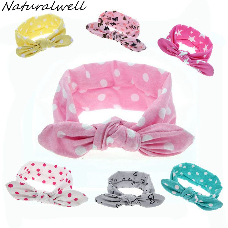 Naturalwell Baby Girls Top Knot Headband Children Rabbit Ear Turban Headwrap Elastic Dots Printing Hair Bands Accessories HB456 13 colors lovely girls print floral rabbit ears hairband turban knot headband hair band accessories
