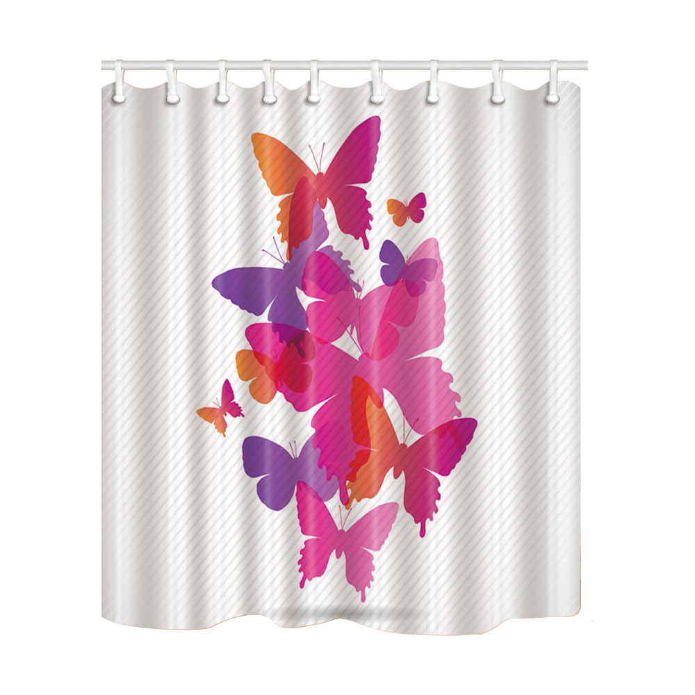 yellow butterfly shower curtain bedroom