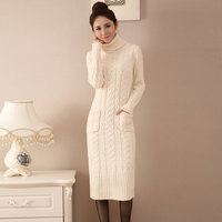 Autumn Winter Turtleneck Sweater Women Split Knitted Pullover Long Sweater Dress Pull Femme Thicken Jumper Pullovers Dress C3685