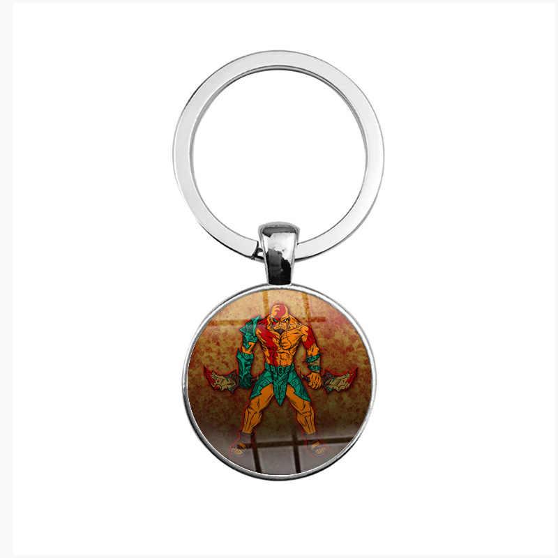 LLavero de cristal de Dios de las guerras 4 Kratos figura colgante redondo juego de llavero mujeres hombres llavero Dorpshipping joyería de moda