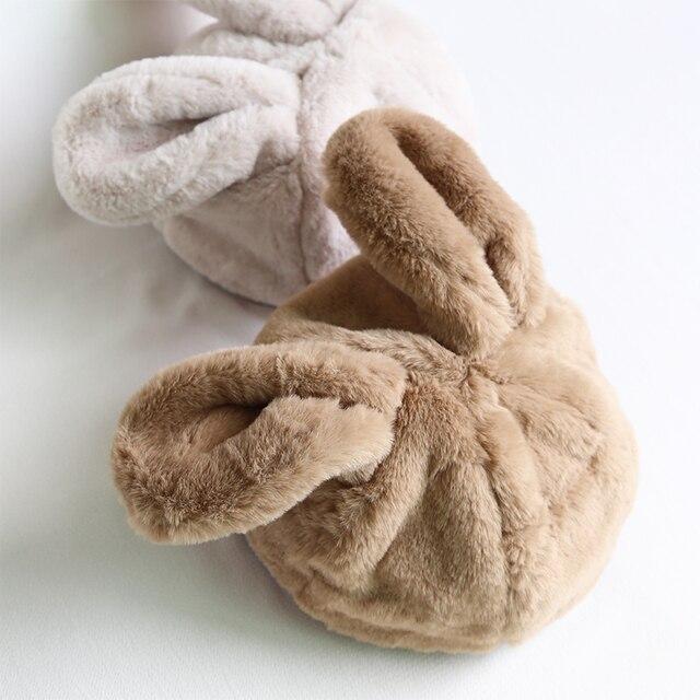 女性冬の帽子和風甘いかわいいウサギの耳豪華なキャップ動物の帽子 Skullies New ファッションふわふわウォーマービーニーキャップ