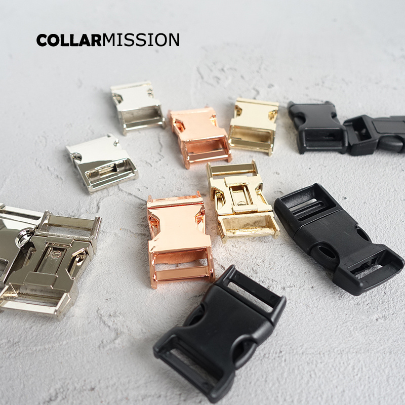 Contoured Side Release Buckle Kirsite Diy Dog Collars Accessory Durable Security Lock Retailing 20mm Webbing Strapping 7 Kinds