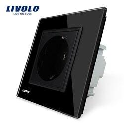 Free Shipping, Livolo EU Power Socket, Black Crystal Glass Panel, 16A EU Standard Wall Outlet without Plug VL-C7C1EU-12