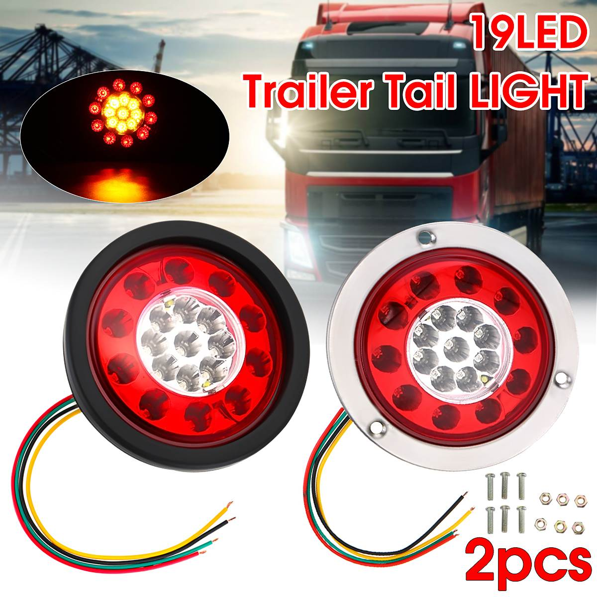 Round 19 LED Truck Trailer Lorry Brake Stop Turn Tail Light Black Rubber Ring yamaha led trailer light kit