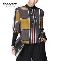 Women Spring Plaid Shirt Long Sleeve Chiffon Blouse Design Patchwork Fashion Plus Size Top And Blouses