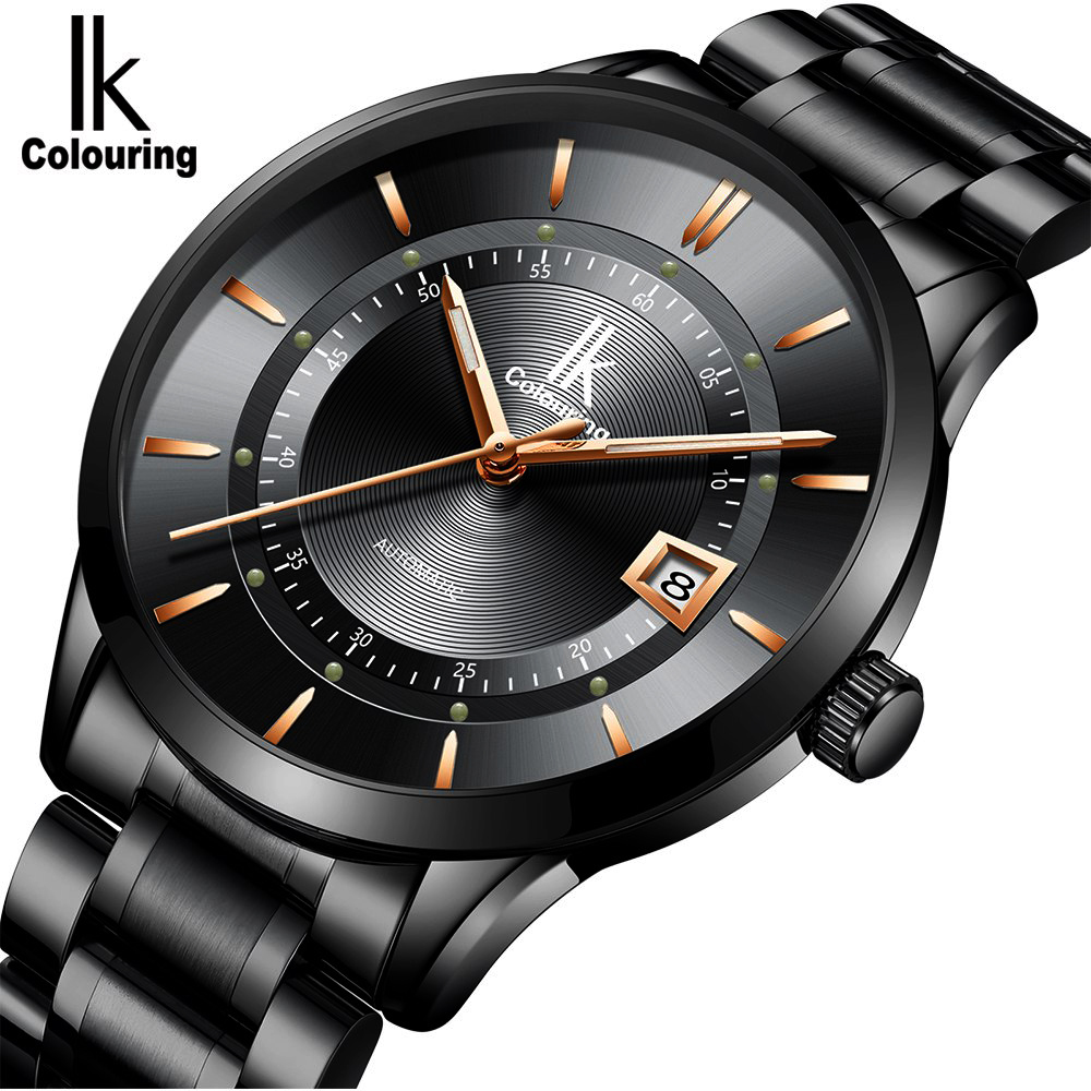 relogio masculino Mens Watches Top Brand Luxury Fashion Business Automatic Self-Wind Watch Men Full Steel Waterproof Black Clock reloj hombre top brand luxury simple fashion casual business watches men date waterproof automatic mens watch relogio masculino