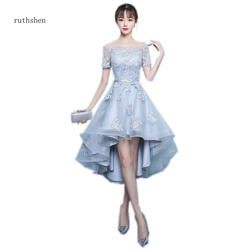 ruthshen 2018 New Arrival Grey Asymmetrical Prom Dresses High Low  Appliques Vestidos De Prom Party Gowns With Short SleevesProm Dresses
