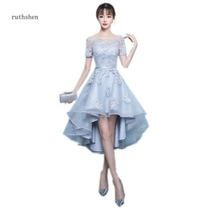 Image 1 - ruthshen 2018 New Arrival Grey Asymmetrical Prom Dresses High Low Appliques Vestidos De Prom Party Gowns With Short Sleeves