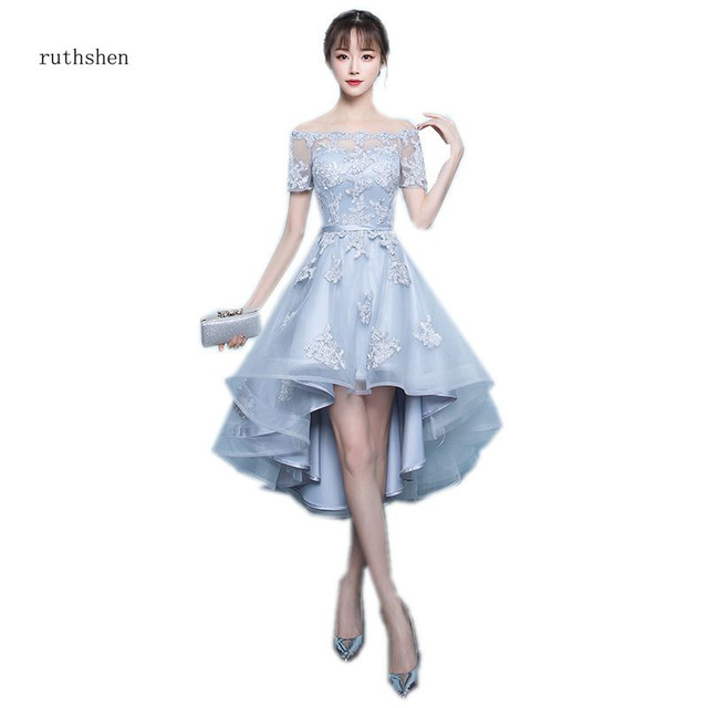 ruthshen 2018 New Arrival Grey Asymmetrical Prom Dresses High Low Appliques Vestidos De Prom Party Gowns With Short Sleeves
