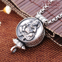 Eight silversmith S925 silver Ganesh gawu box can open the Shurangama mantra and Buddhism Pendant Necklace