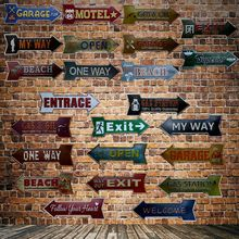 [ WellCraft ] Garage Exit Entrace Beach Arrow Signs Wall Plaque Poster Decor for House Bar Room Metal Painting HY-1704