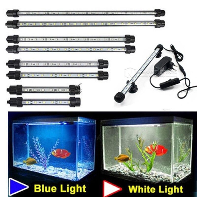 Acuario 9/12/15/21 luz LED azul/blanco 18/28/38 /48 cm bar sumergible impermeable clip lámpara decoración enchufe de la UE