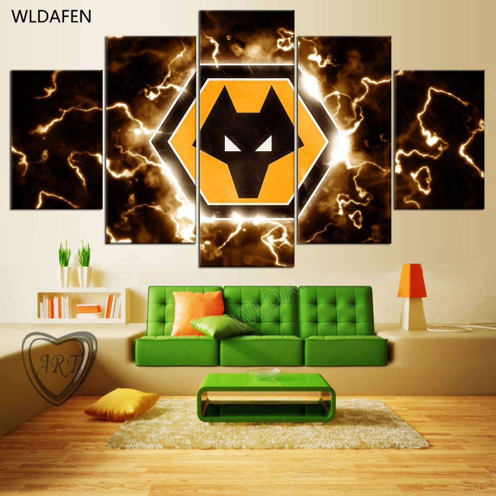 5 Pieces Sports Team Deco Fans Posters Oil Painting On Canvas Modern Home Pictures Prints Decor Living Room PH4-1917