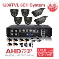 CCTV Security 8CH 1080N HDMI DVR 1200TVL AHD 720P 6CH Security Camera System IR Color Video Surveillance DIY KIT P2P Mobile View
