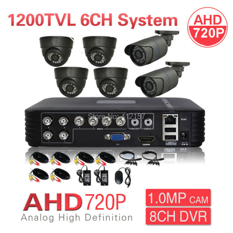 CCTV Security 8CH 1080N HDMI DVR 1200TVL AHD 720P 6CH Security Camera System IR Color Video Surveillance DIY KIT P2P Mobile View
