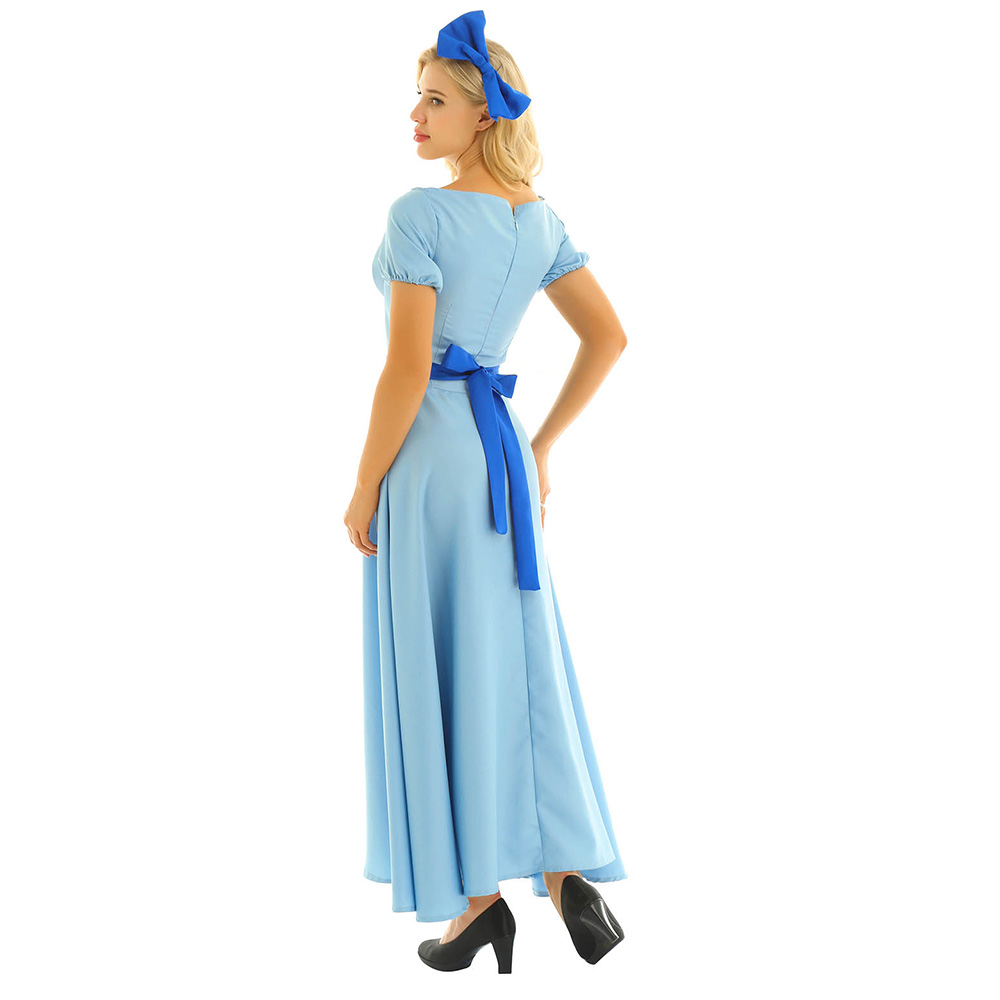 Image 3 - Women Halloween Cosplay Costume Wendy Dress Boat Neck Short Puff Sleeves Princess Party Fancy Maxi Dress with Headwear and Belt-in Movie & TV costumes from Novelty & Special Use