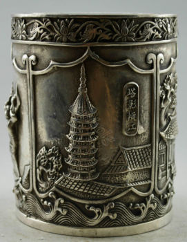 Elaborate Chinese Collectible Decorated Old Handwork Tibetan Silver Tower House Brush Pot