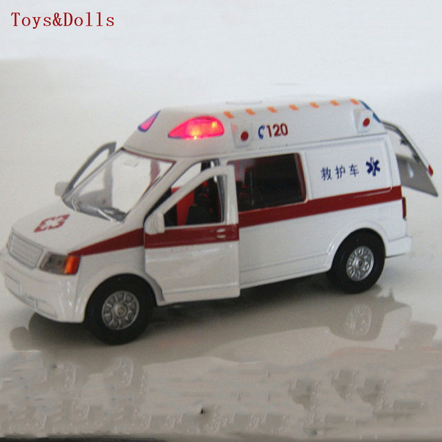 Collectible Alloy Diecast White Car Model 1/32 Ambulance Medical vehicles w/light&sound Pull Back Cars Model Kids Toys Gifts